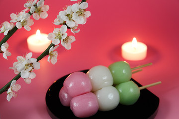 Japanese dumpling with Ume (Japanese plum) blossoms and candles