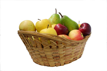 Pear green, yellow and red apples