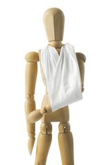 wooden mannequin with broken hand