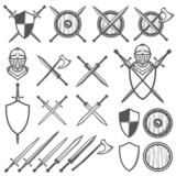 Set of medieval swords, shields and design elements