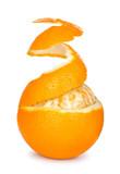 ripe orange peeled skin on a white background