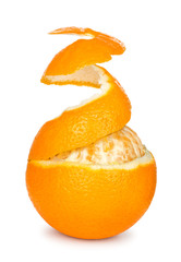 ripe orange peeled skin on a white background © sveta