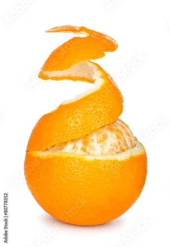 Papiers peints Fruit ripe orange peeled skin on a white background