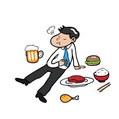 Businessman full of food