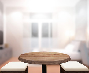 Wood Table  Top Background In Bedroom