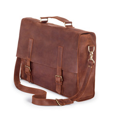 Brown Vintage leather briefcase with strap and brass buckle, cli