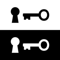 Vector Key Icon, Flat design illustration