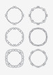 Set of 6 rich decorated calligraphic round frames.