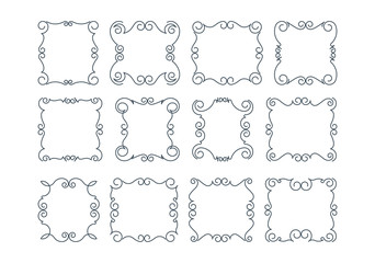 Set of 12 rich decorated calligraphic outlined stroke frames.
