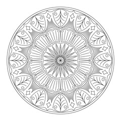 Abstract vector round lace design in mono line style - mandala,