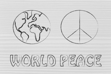 world peace and happiness, globe and peace symbol