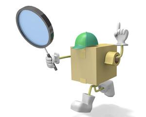 虫眼鏡と段ボール箱のキャラクター