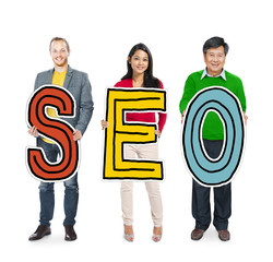 DIverse People Holding Text SEO Concept