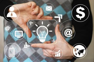 Button idea bulb business businessman virtual.