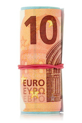 Euro notes with an elastic band wrapped around