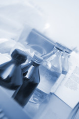 Medical vials in the lab hospitals monochrome