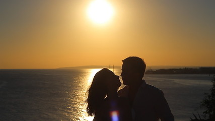 Silhouette of a kiss in slow motion