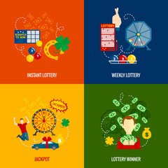 Lottery 4 flat icons