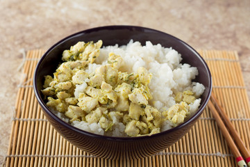 Bowl with rice and chicken