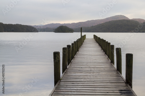 Fototapeta Wooden jetty in the lake district