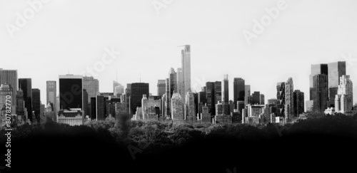 Poster Panorama of New York skyline in black and white
