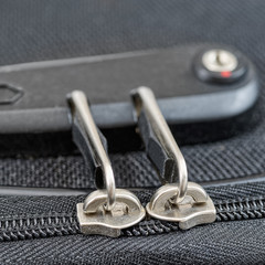 Lock with numbers on suitcase zipper