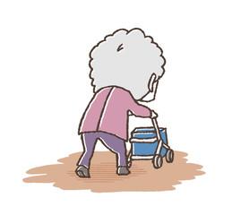 おばあさんと手押し車