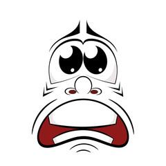 Cartoon sad face. Vector illustration