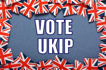 Vote UKIP Election reminder with union jack flags