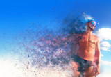 Aesthetic Fitness Man with particles explosion into the wind. poster
