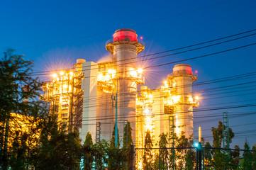 power plant on blue sky background.