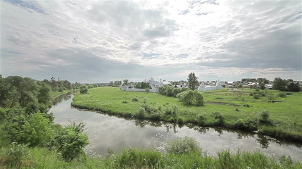 Walk along the river in Suzdal. Summer landscape