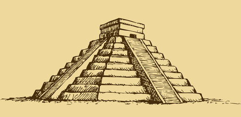 Vector illustration with Mayan pyramids in Mexico