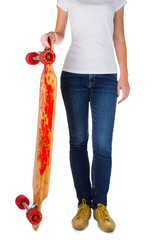 Woman with longboard