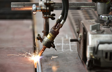 LPG cutting with sparks close up