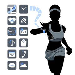 テクノロジー スマート ウォッチ コンセプト Smart device concept - fitness woman