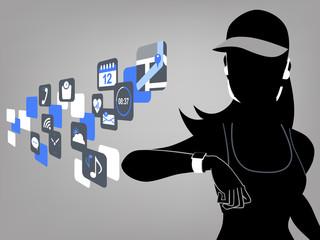 テクノロジー スマート ウォッチ コンセプト Fitness woman and smart watch device