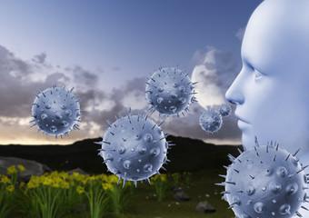 Pollen allergy concept