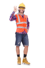 Young construction worker isolated on white