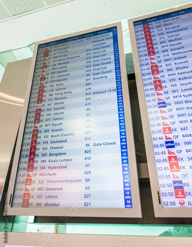 Foto op Canvas Luchthaven Airport board with depatures and arrivals