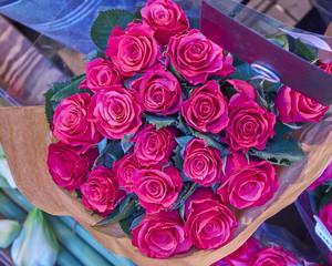 vibrant red roses bouquet closeup