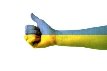 Main avec pouce levé, drapeau Ukraine