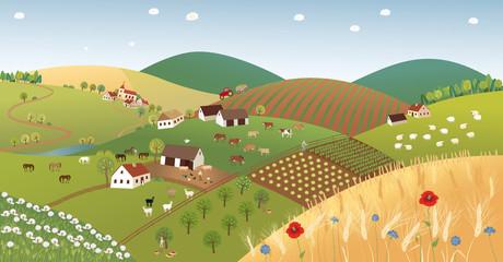 Summer farmer landscape