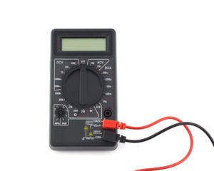 Turned off digital multimeter isolated on white closeup