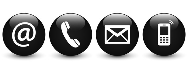 Set of black glossy ball icons – Contact Us