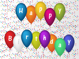 Birthday greeting card with confetti and ballons