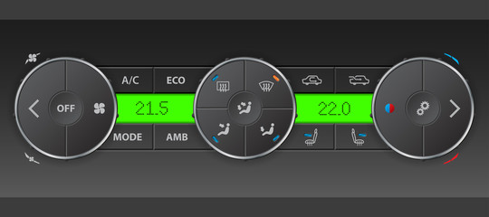 Detailed digital air condition control panel