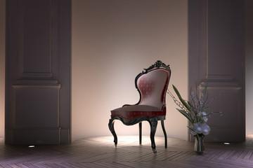 Antique bustle back Victorian armchair