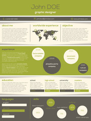 Modern resume cv with cool graphics and texts