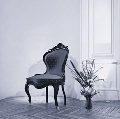 Antique chair with flower arrangement